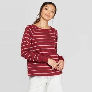 Stars Above Striped Fleece Pullover Sweatshirt